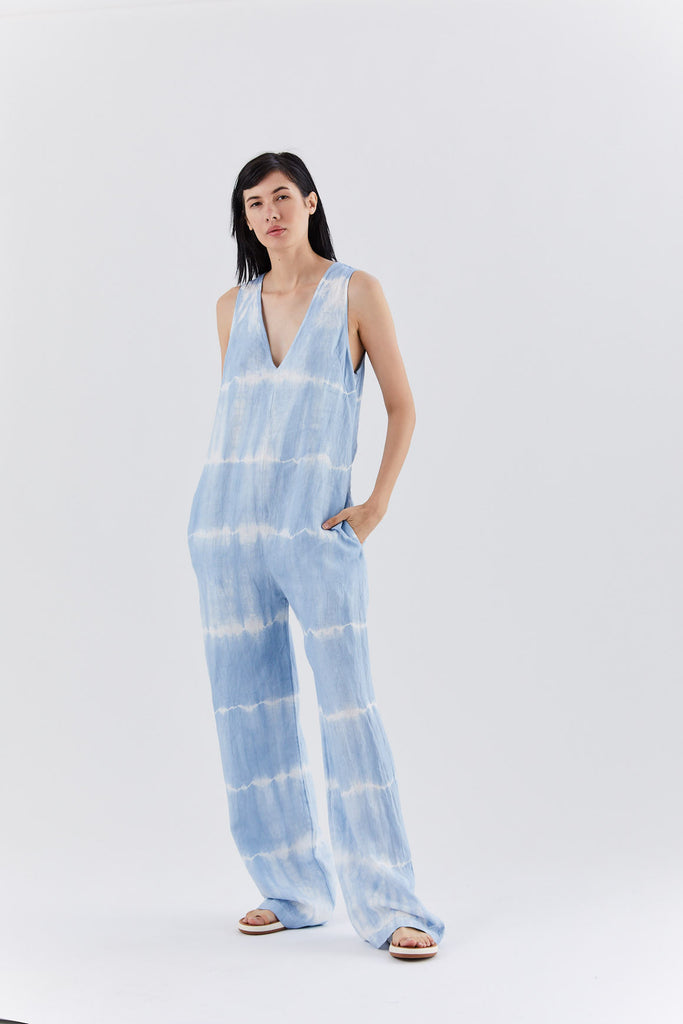 v-neck jumpsuit, sky blue