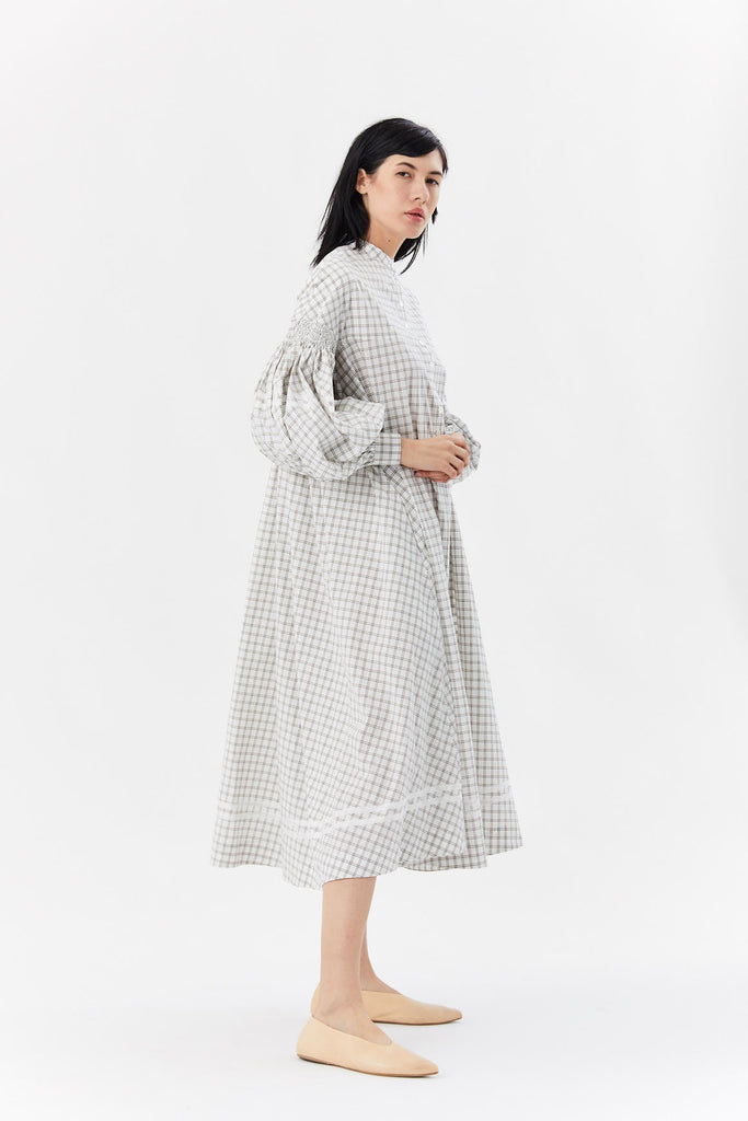 checked cotton dress, White