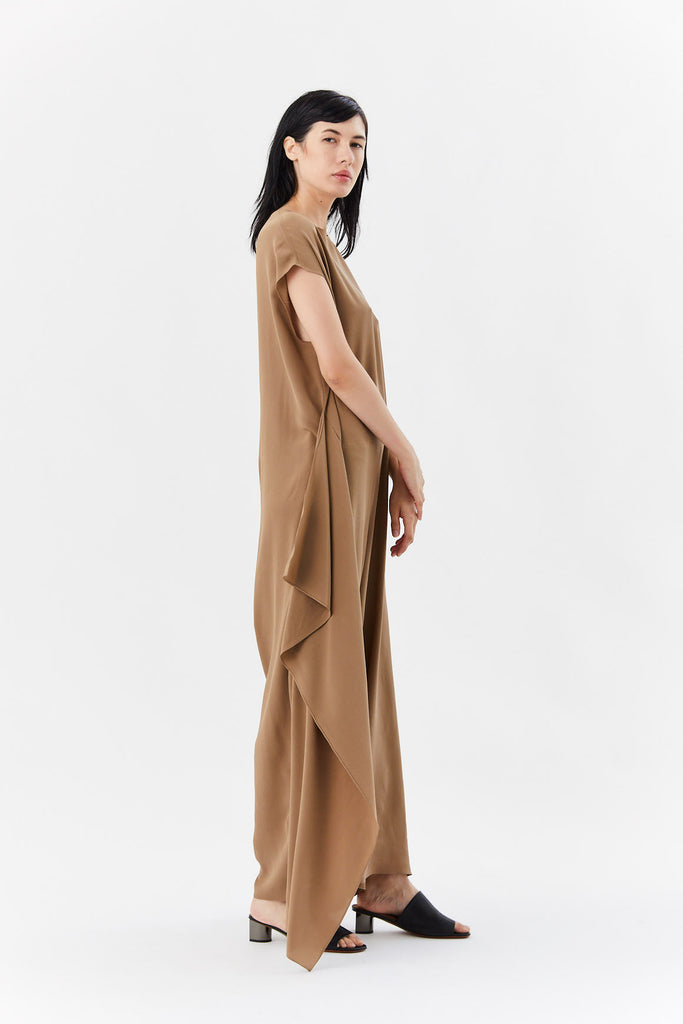 Dušan - sleeveless jumpsuit, brown
