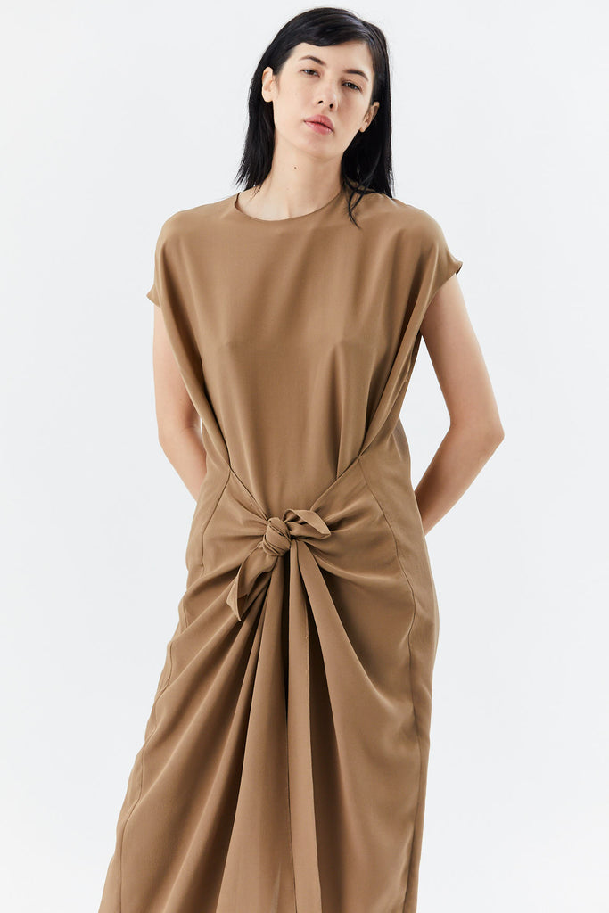 sleeveless jumpsuit, brown