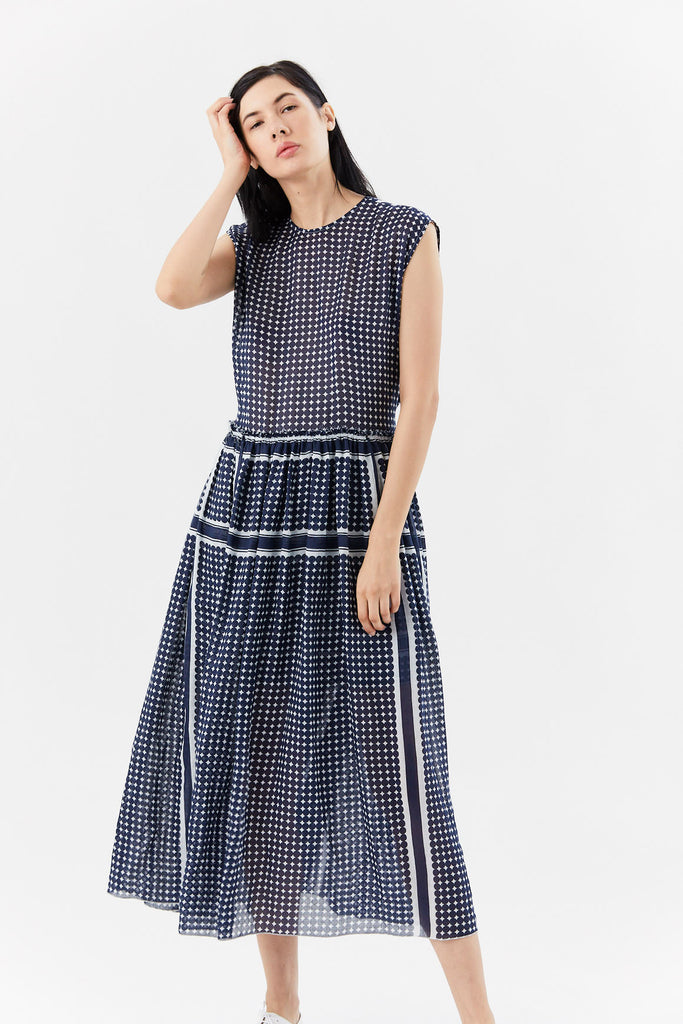 SARA LANZI - longuette dress, NAVY