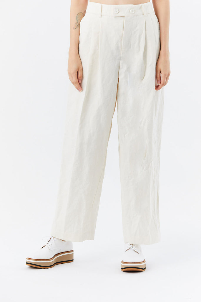 ZANINI - cotton linen trouser, Ivory