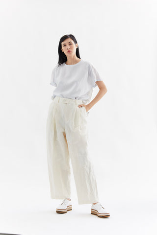 cotton linen trouser, Ivory