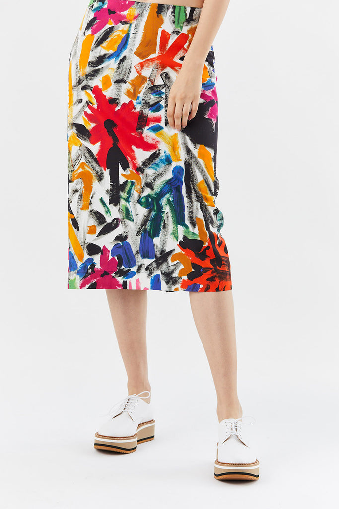 CARMEN PRINT COTTON PENCIL SKIRT