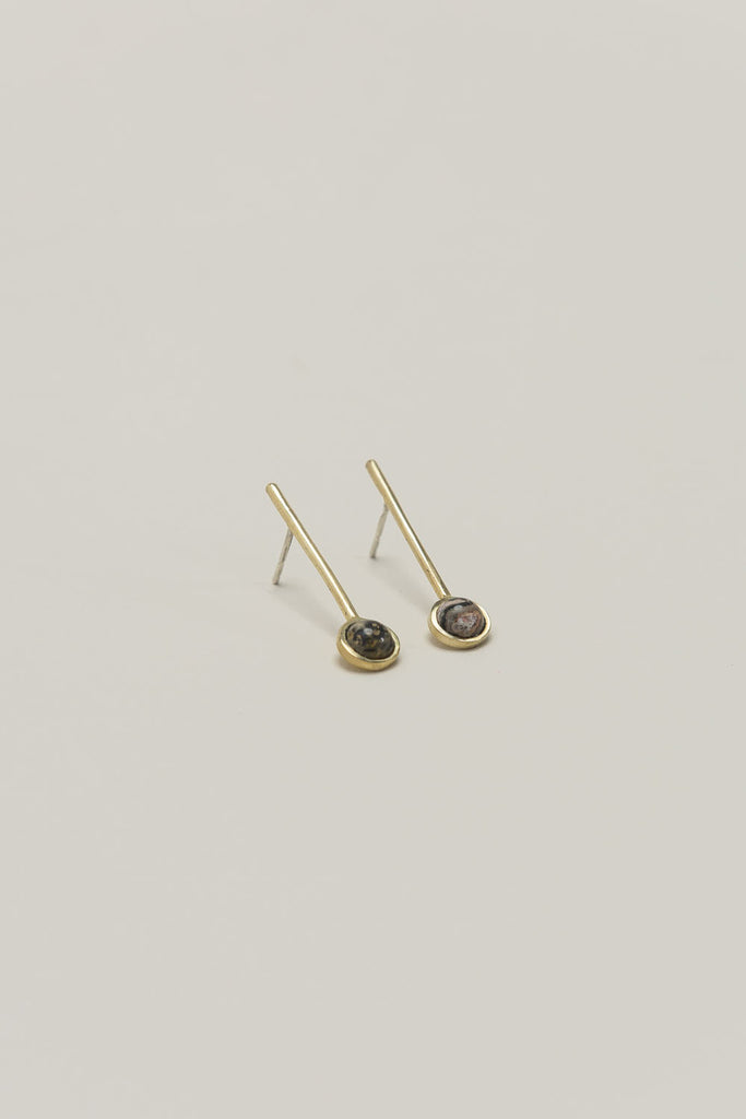 Annika Down Earrings, Brass/Leopard by Quarry @ Kick Pleat - 1