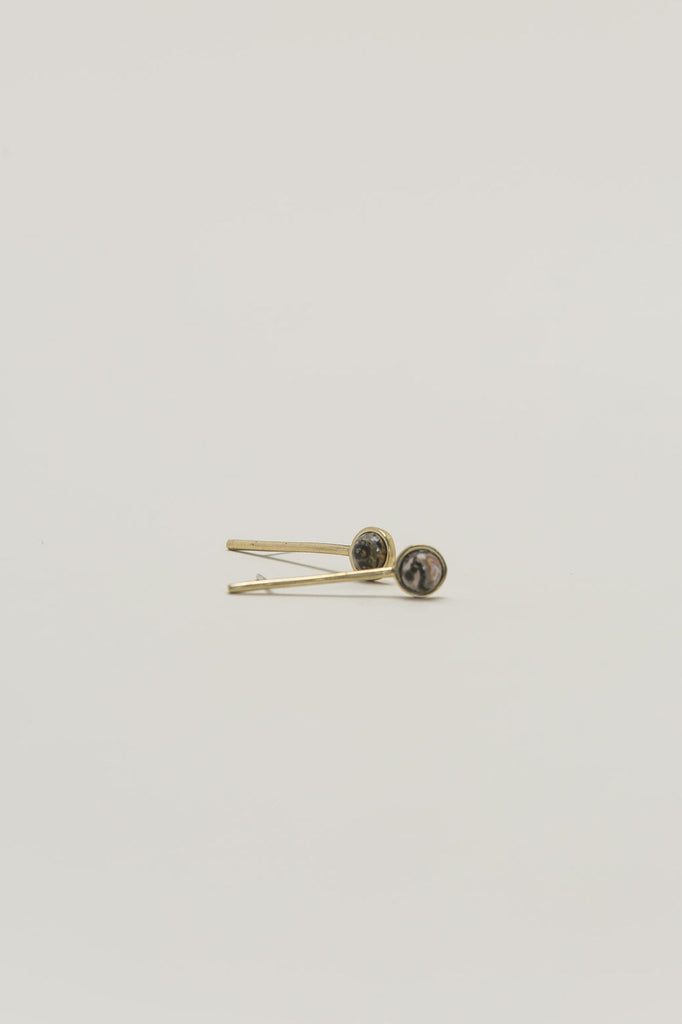 Annika Down Earrings, Brass/Leopard by Quarry @ Kick Pleat - 3