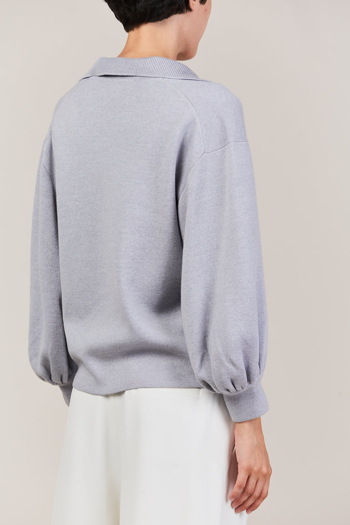 bell sleeve polo pullover, light grey