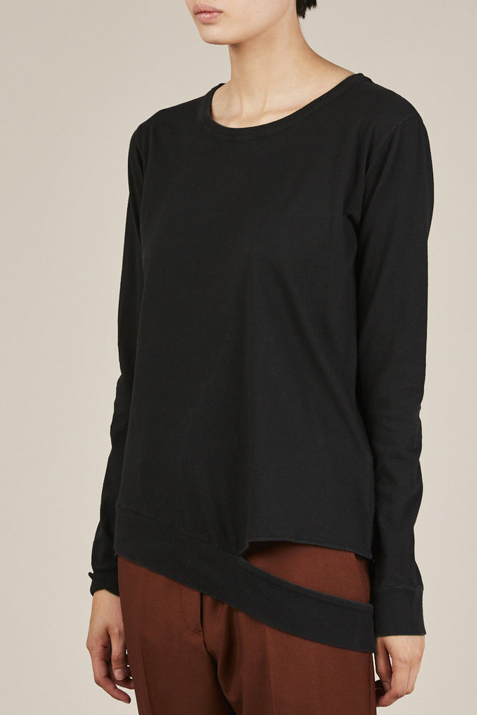 L/S Cut Out Sweatshirt, Black - MM6 by Maison Martin Margiela