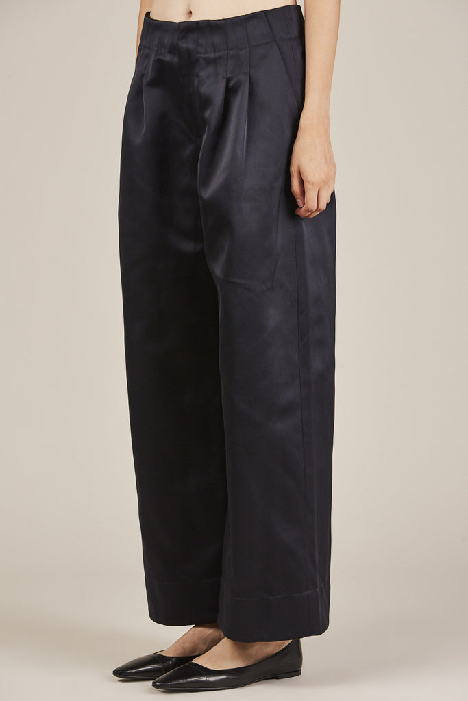 Nomia - Pleated Wide Leg Pants, Midnight