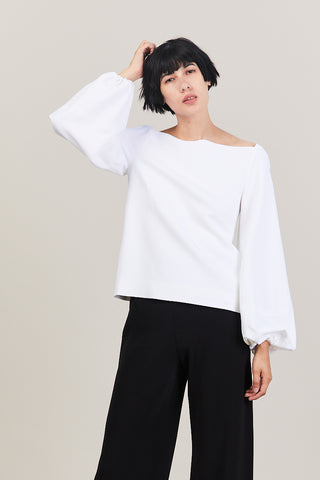 Balloon Sleeve Top, White