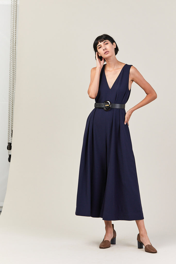 V-Neck Wide Leg Jumpsuit, Midnight