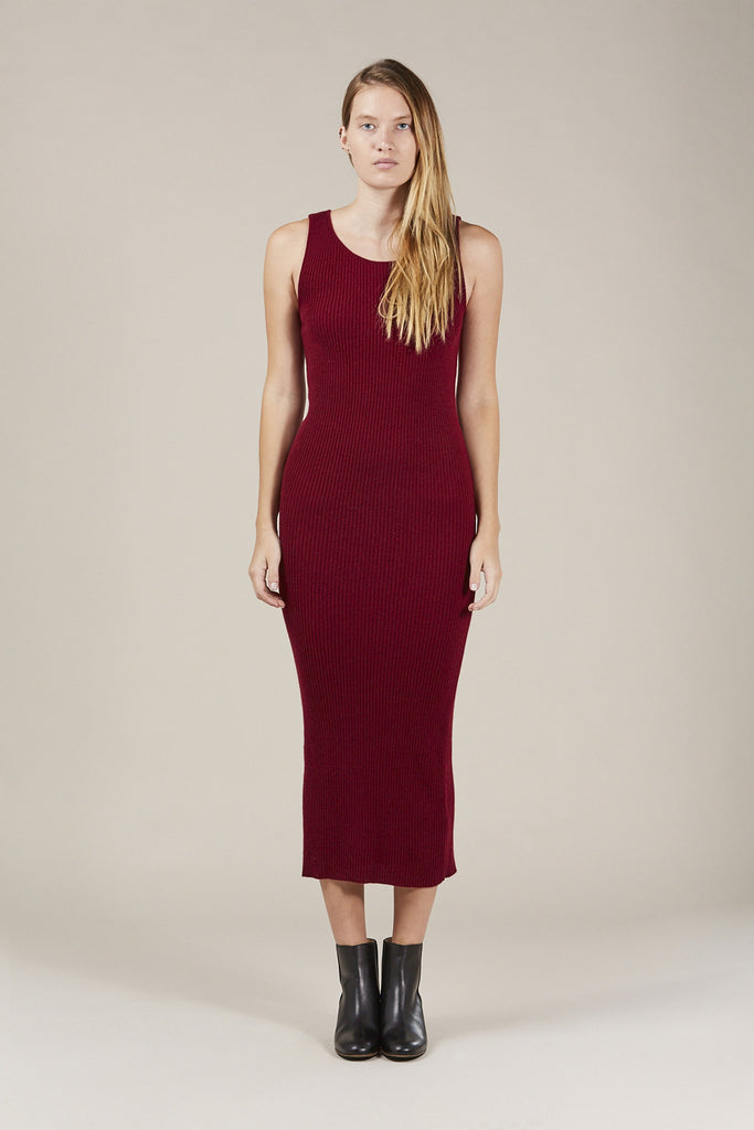Tank Long Dress Sweater, Maroon