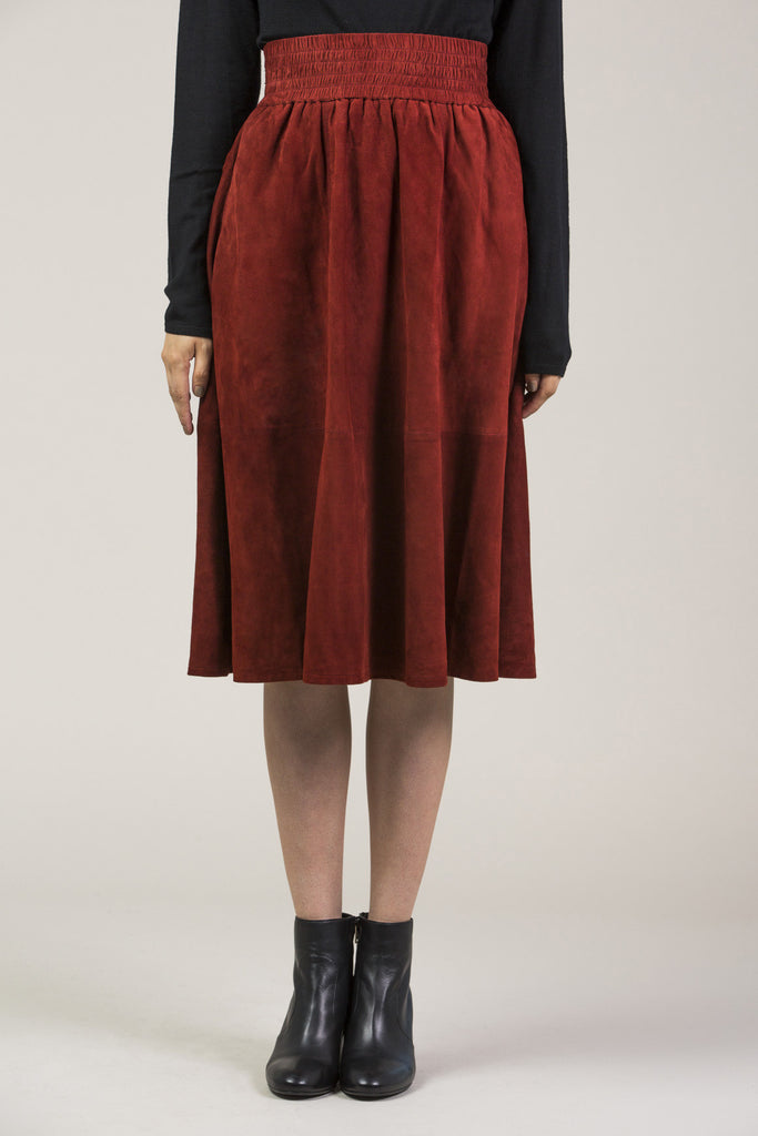 Mina suede skirt, Red by Apiece Apart