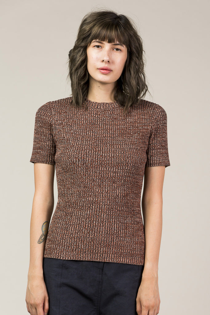 Mora S/S Rib Sweater, Red Rock