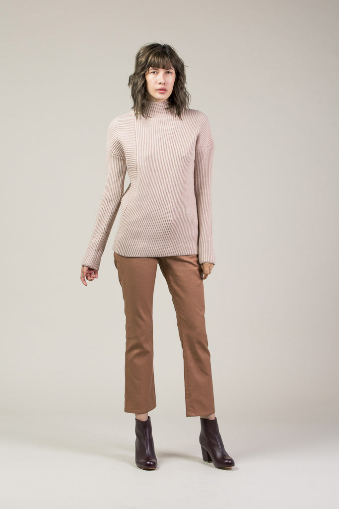 Asymmetrical Turtleneck, Mauve