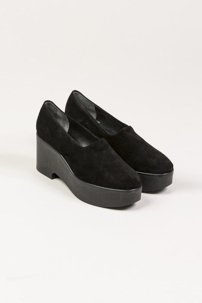 Xalo Platform Wedge Loafers, Black