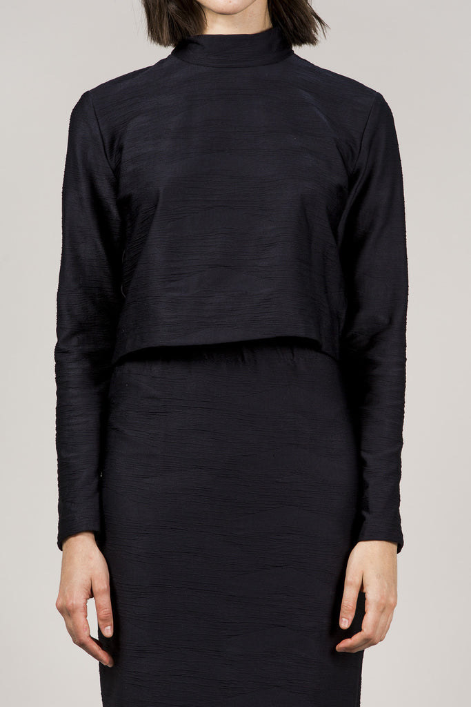 L/S Mock Neck Top, Black by Suzanne Rae @ Kick Pleat - 3