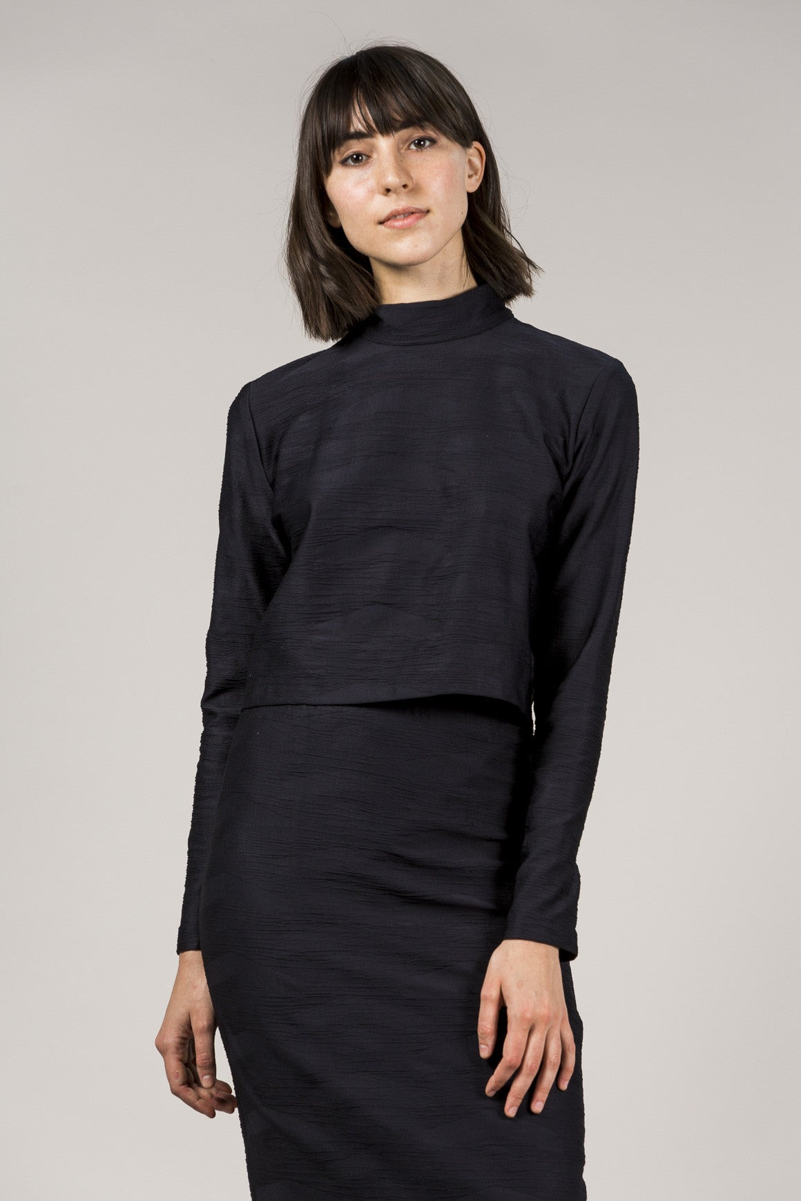 L/S Mock Neck Top, Black by Suzanne Rae @ Kick Pleat - 1