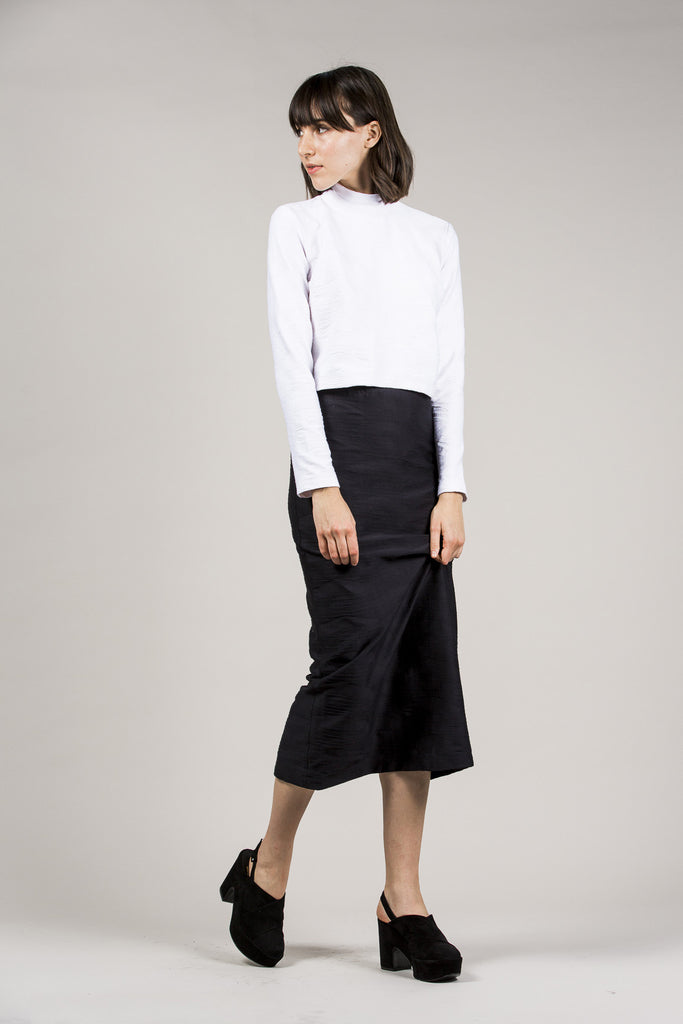 L/S Mock Neck Top, White by Suzanne Rae @ Kick Pleat - 8