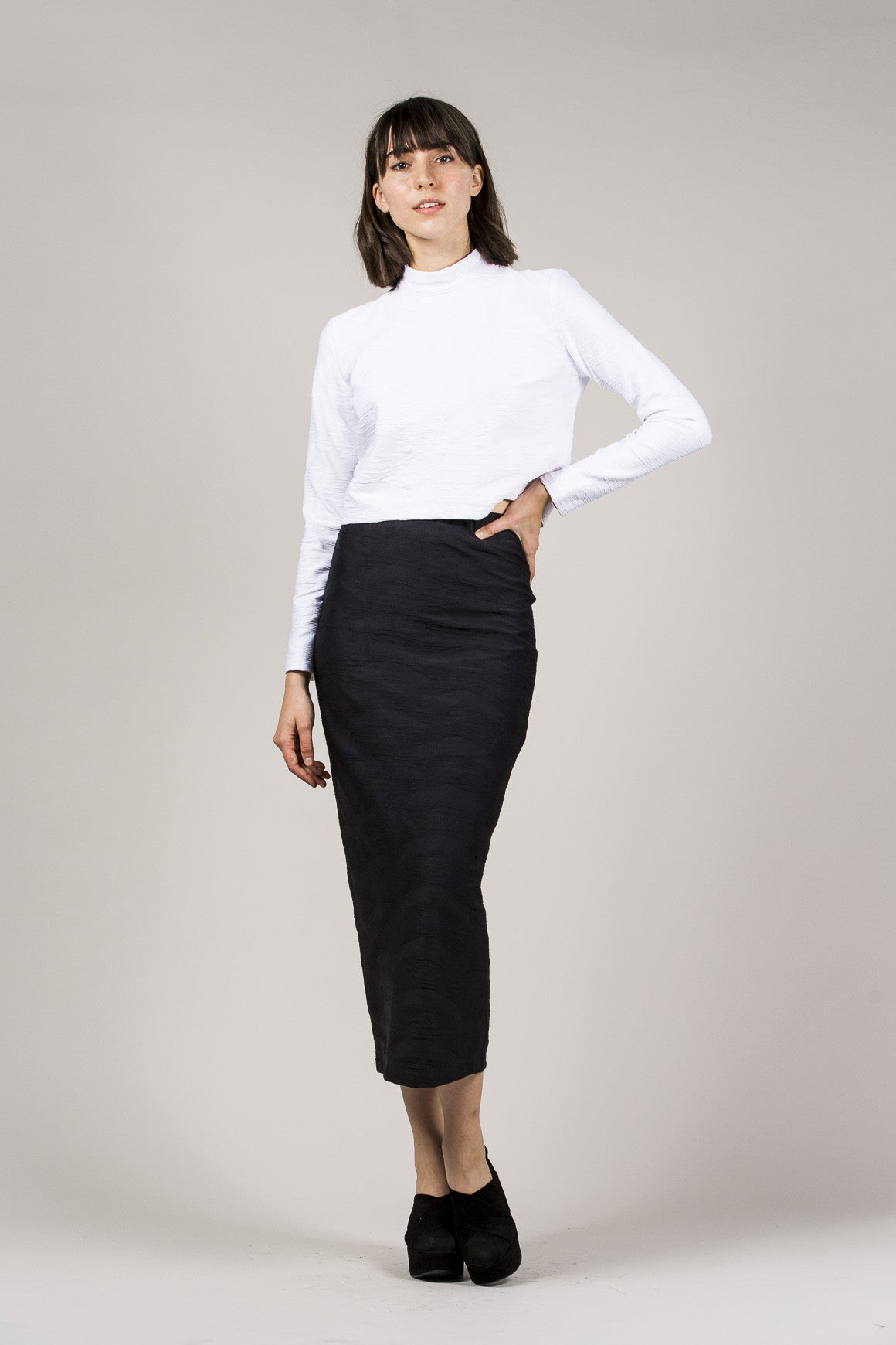 L/S Mock Neck Top, White by Suzanne Rae @ Kick Pleat - 1
