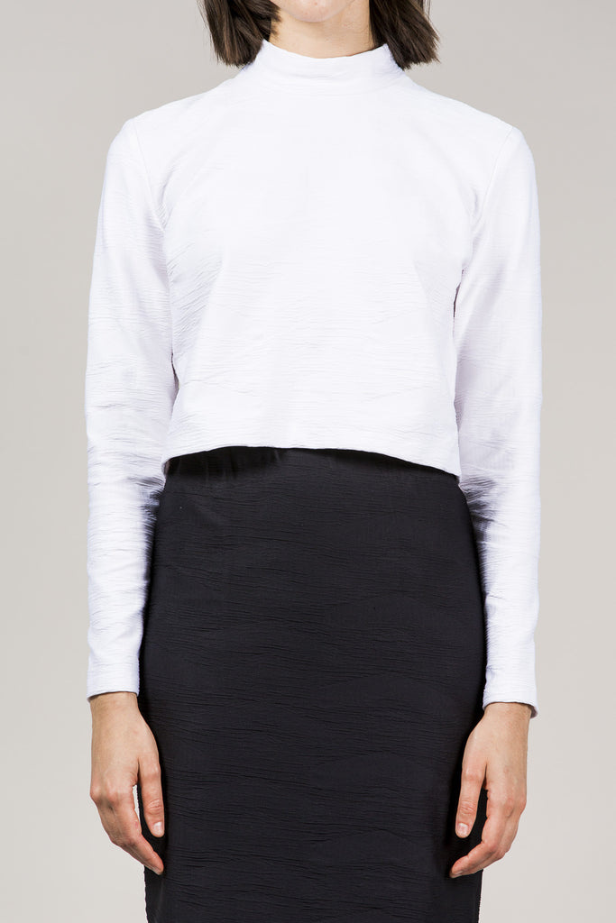L/S Mock Neck Top, White by Suzanne Rae @ Kick Pleat - 2