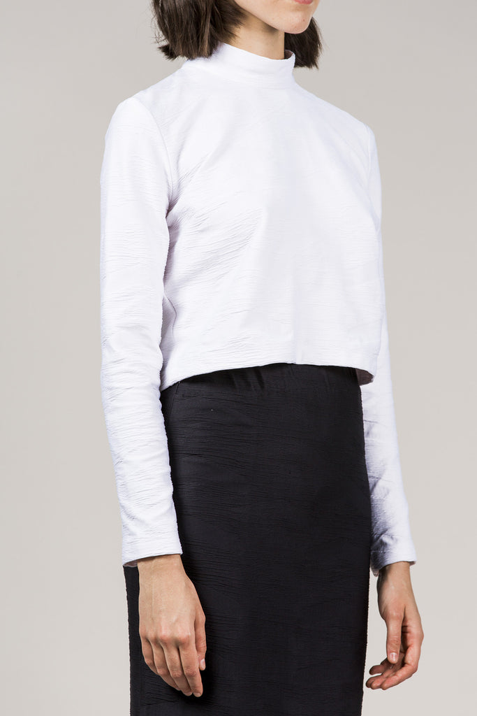 L/S Mock Neck Top, White by Suzanne Rae @ Kick Pleat - 3