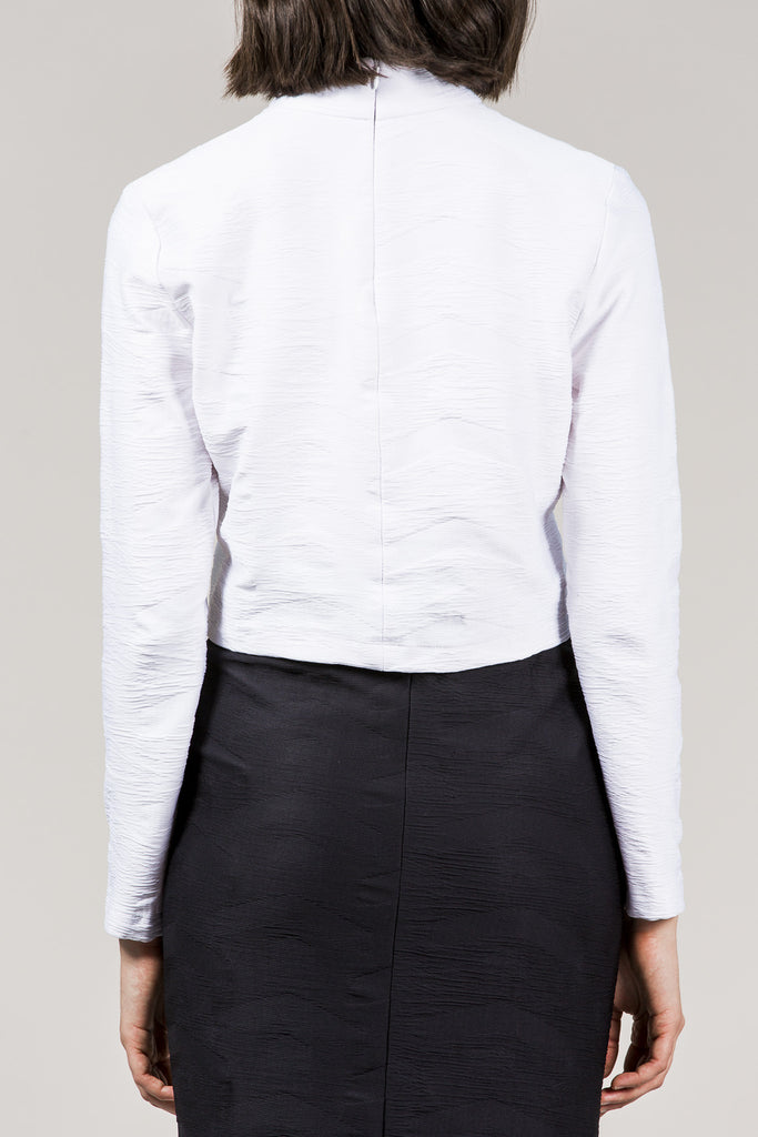 L/S Mock Neck Top, White by Suzanne Rae @ Kick Pleat - 4