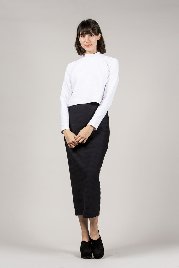 L/S Mock Neck Top, White by Suzanne Rae @ Kick Pleat - 7