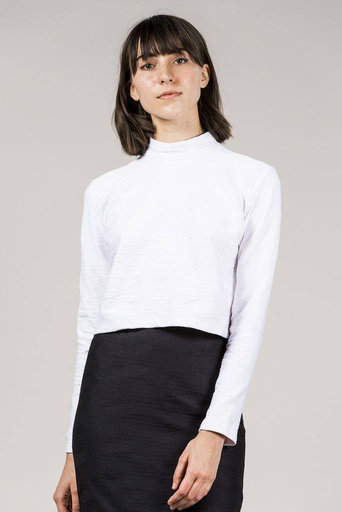 L/S Mock Neck Top, White by Suzanne Rae @ Kick Pleat - 5