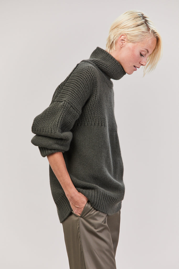 Turtleneck Sweater, Dark Green