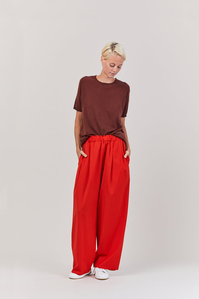 Petrina Solid Drawstring Pant, Red