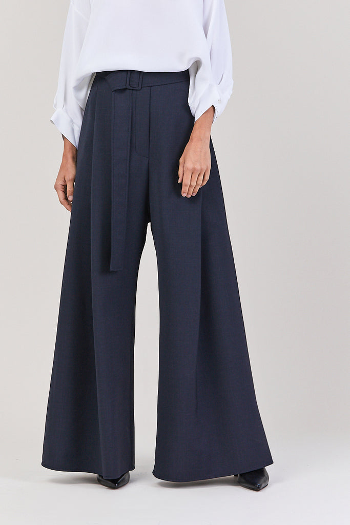 Venturi Wide Leg Pleated Pant, Navy