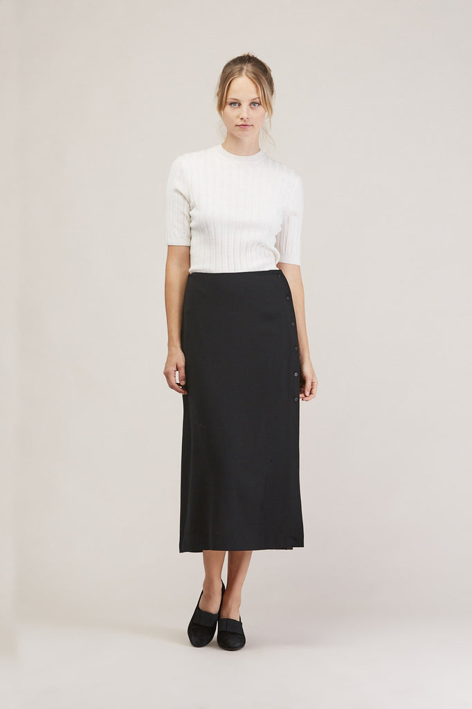 Side button midi skirt, Ink