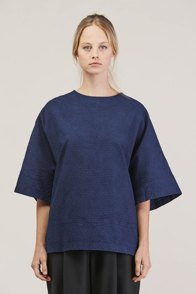 Washed Sateen Panel Crew, Indigo