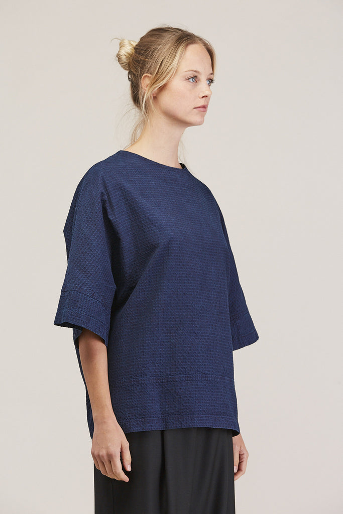 Washed Sateen Panel Crew, Indigo by GREI @ Kick Pleat - 3