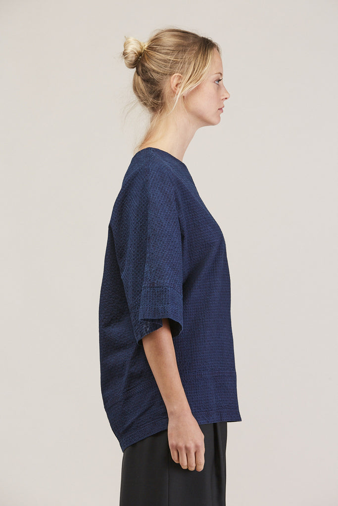 Washed Sateen Panel Crew, Indigo by GREI @ Kick Pleat - 4