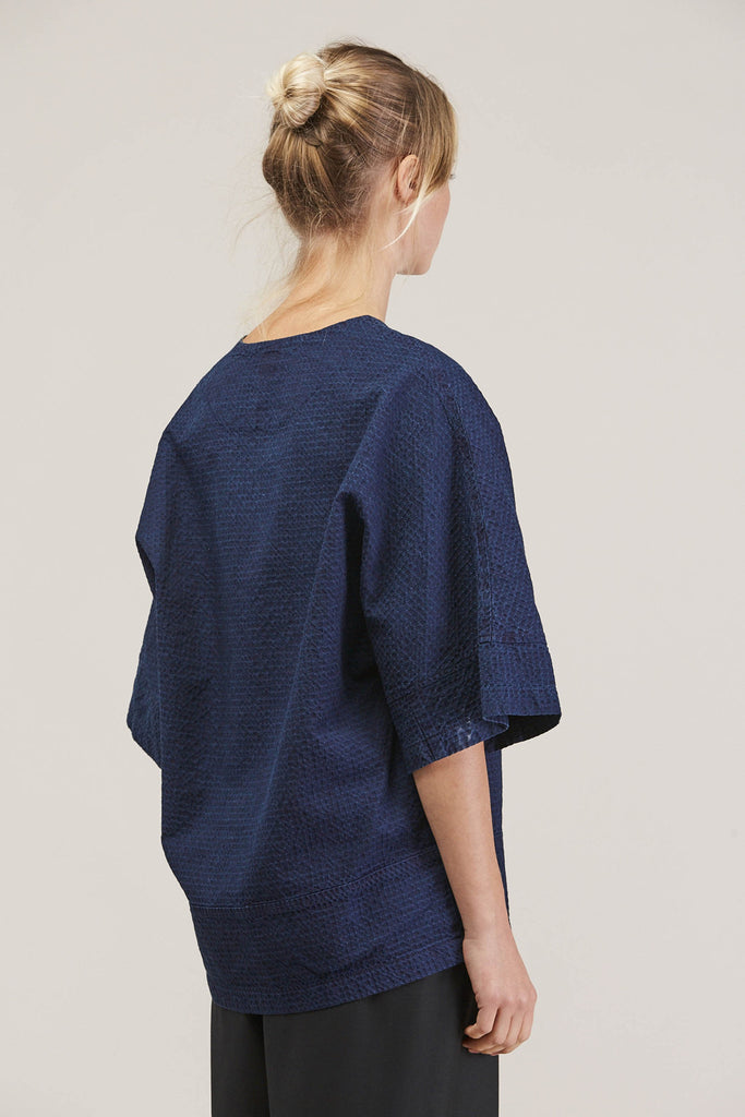 Washed Sateen Panel Crew, Indigo by GREI @ Kick Pleat - 5