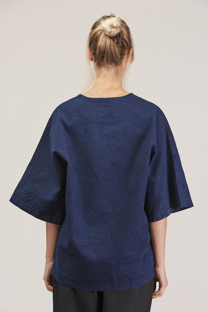 Washed Sateen Panel Crew, Indigo by GREI @ Kick Pleat - 6
