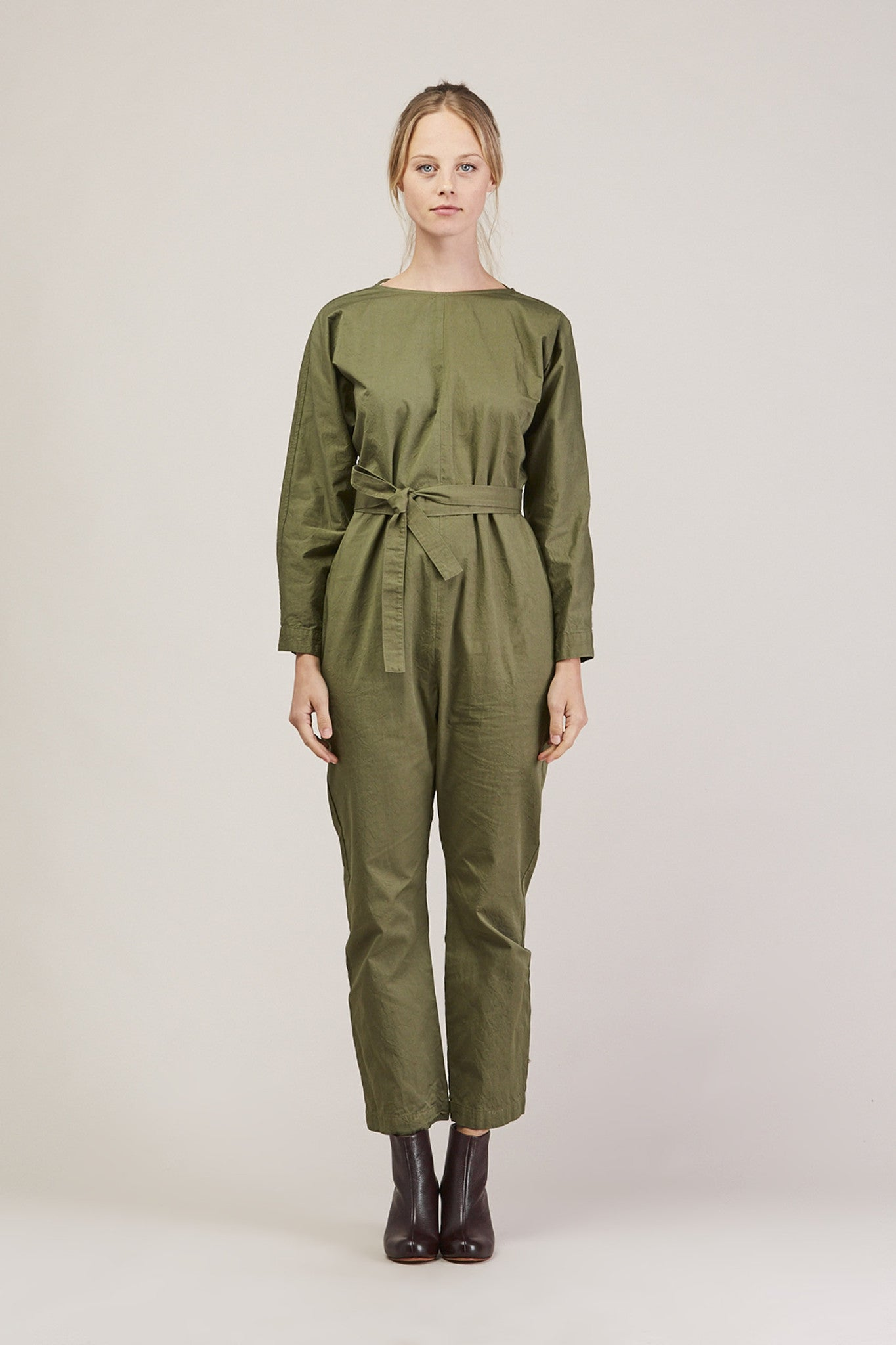 Crinkle Raglan Jumpsuit, Army by GREI @ Kick Pleat - 1