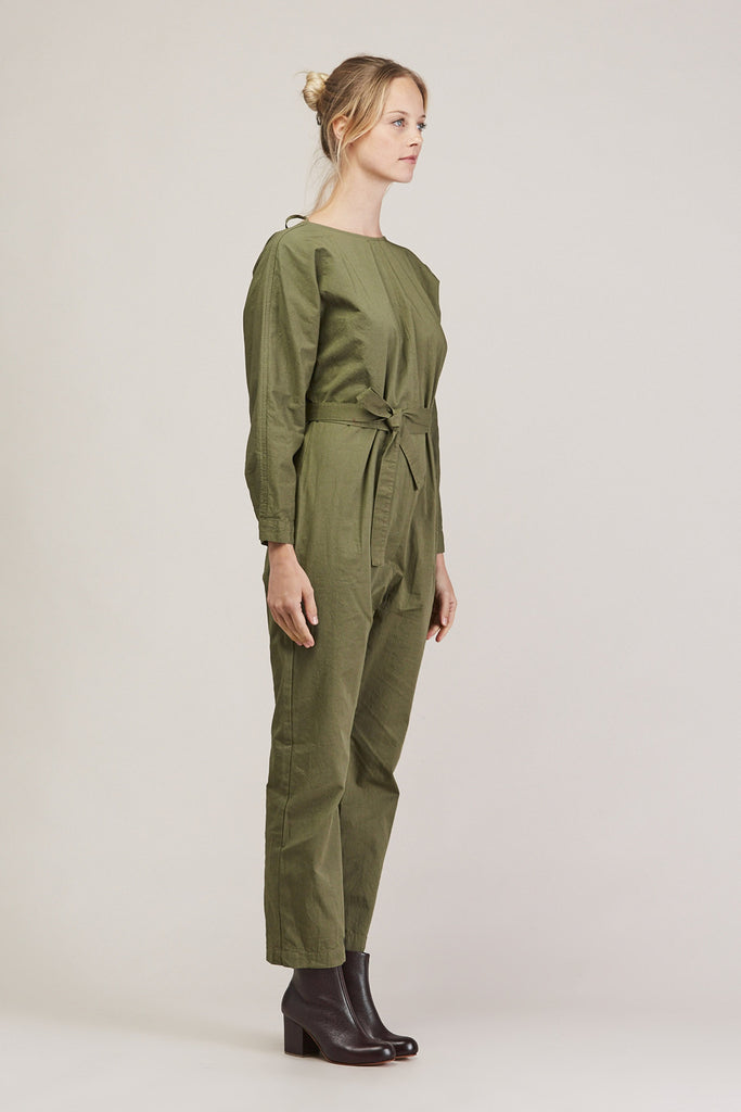 Crinkle Raglan Jumpsuit, Army by GREI @ Kick Pleat - 3