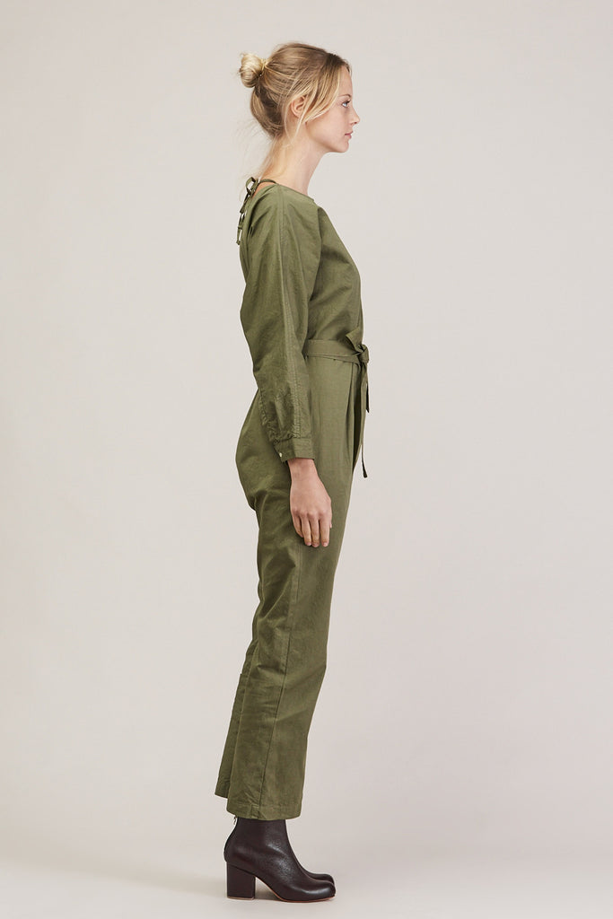 Crinkle Raglan Jumpsuit, Army by GREI @ Kick Pleat - 4