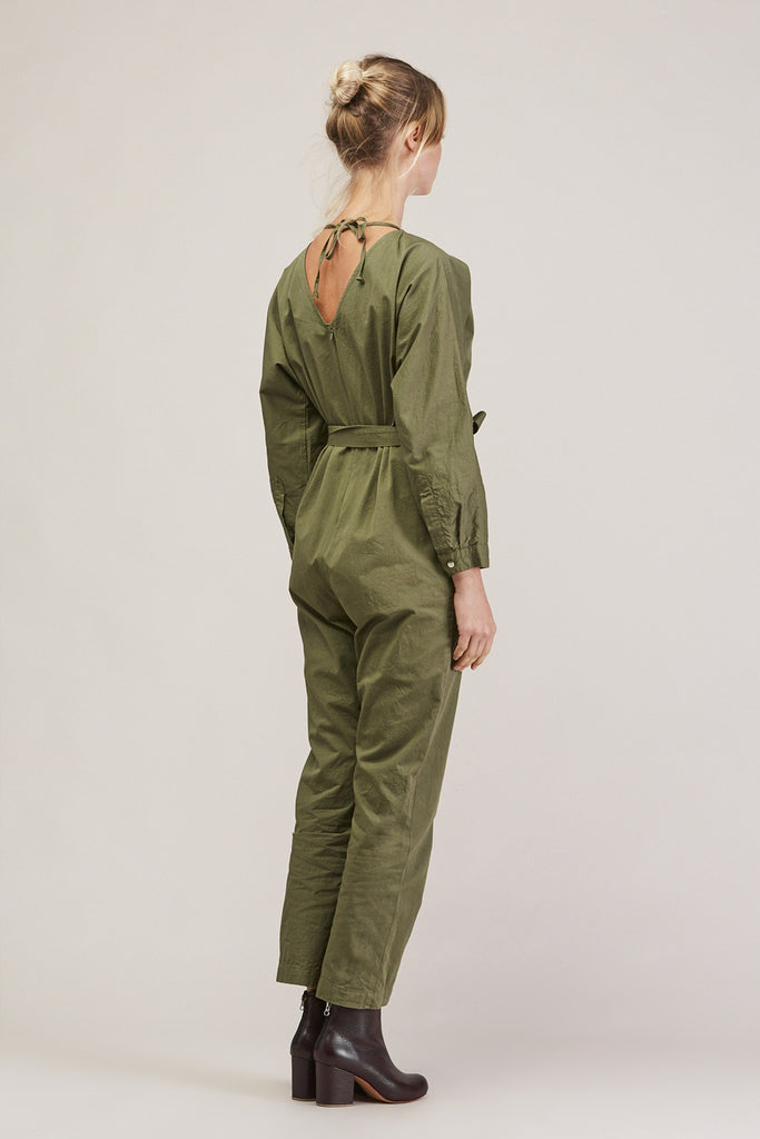 Crinkle Raglan Jumpsuit, Army by GREI @ Kick Pleat - 5