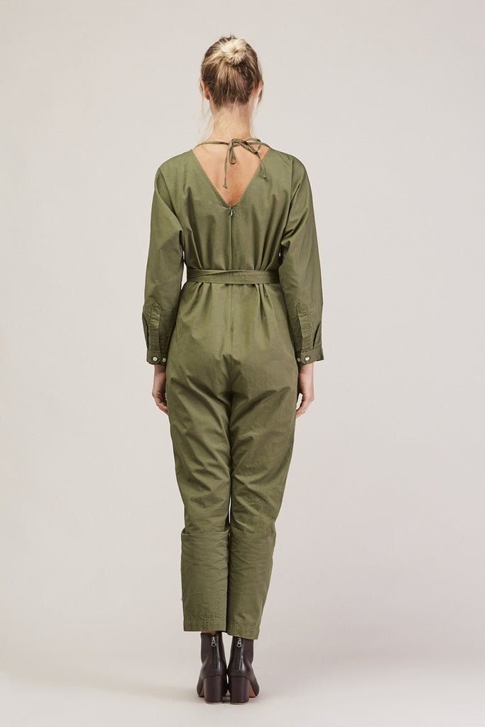 Crinkle Raglan Jumpsuit, Army by GREI @ Kick Pleat - 6