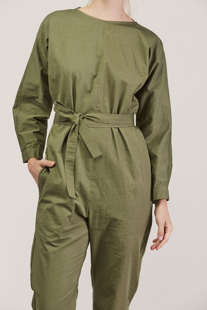 Crinkle Raglan Jumpsuit, Army by GREI @ Kick Pleat - 7