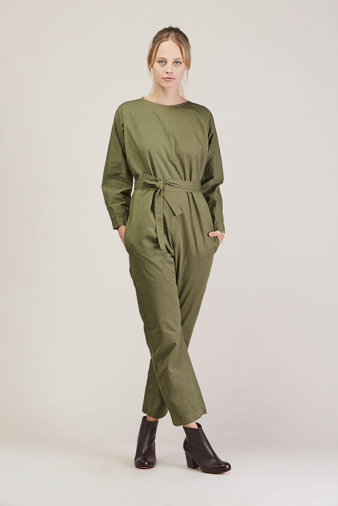 Crinkle Raglan Jumpsuit, Army by GREI @ Kick Pleat - 2