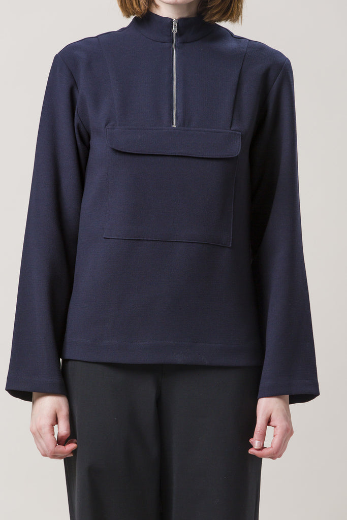 Zip Up Anorak Jacket, Navy by Nomia @ Kick Pleat - 2