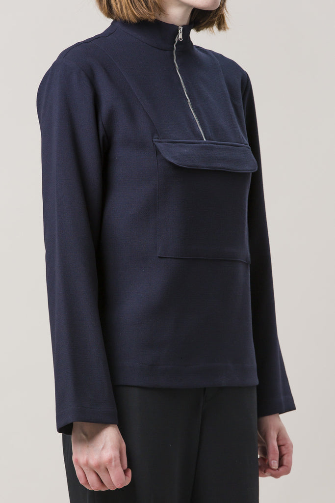 Zip Up Anorak Jacket, Navy by Nomia @ Kick Pleat - 4