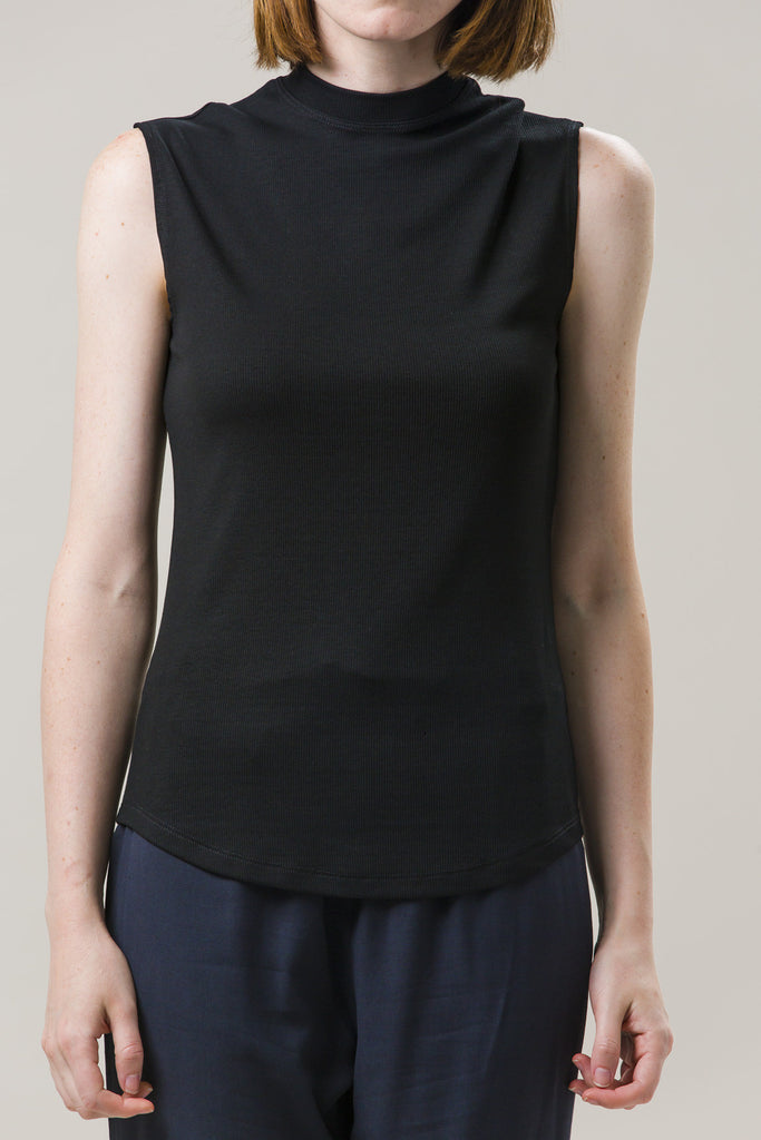 Mock Neck Muscle Tee, Black by Nomia @ Kick Pleat - 3