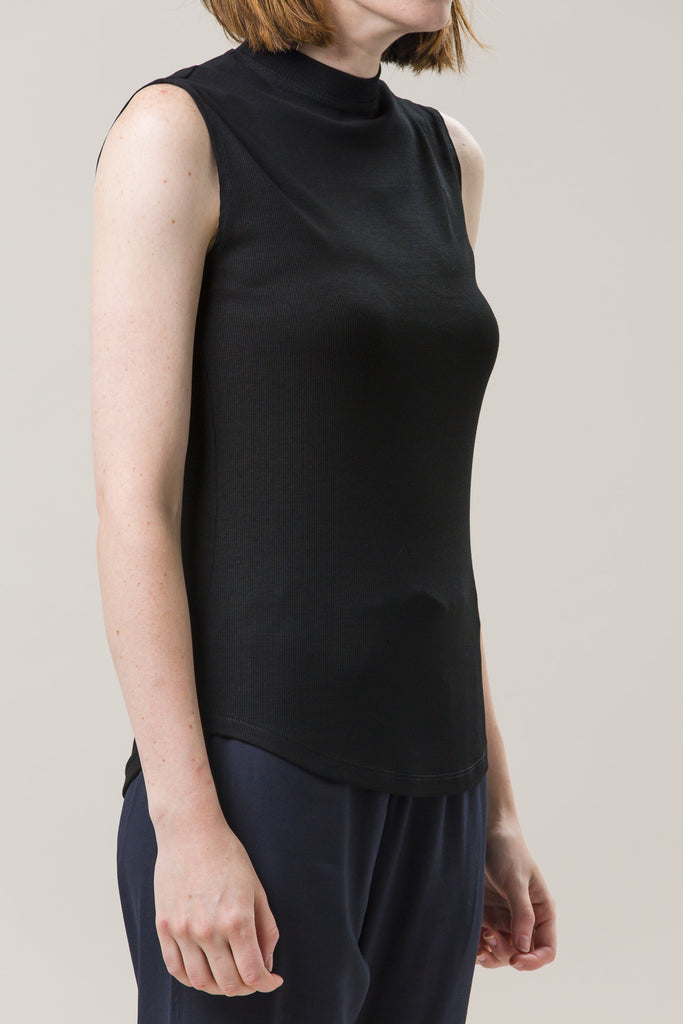 Mock Neck Muscle Tee, Black by Nomia @ Kick Pleat - 4