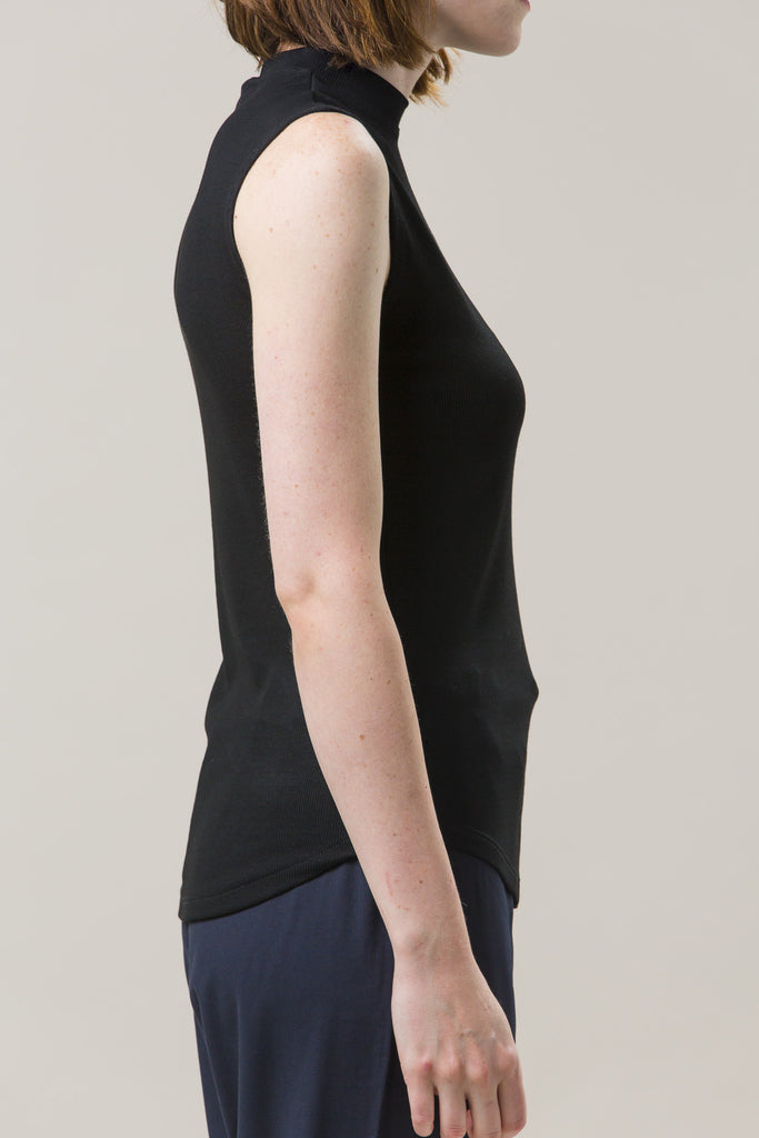 Mock Neck Muscle Tee, Black by Nomia @ Kick Pleat - 5